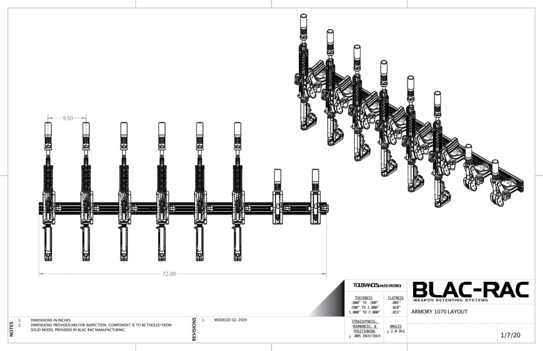 Blac-Rac has designed custom layouts for armories and police stations to facilitate interior installation of Blac-Rac firearm racks.