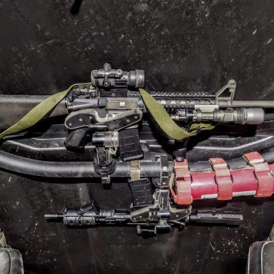 dual 1070 gun racks mounted overhead in can-am maverick