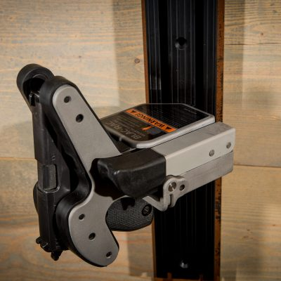 wall mounted 1082 gun rack using tchannel holding sig handgun