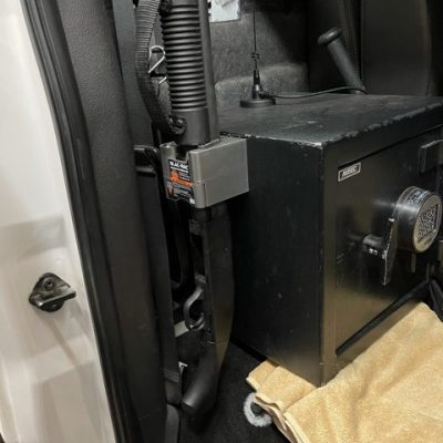 4130 gun rack installed the exterior of a truck safe securing a mossberg 500