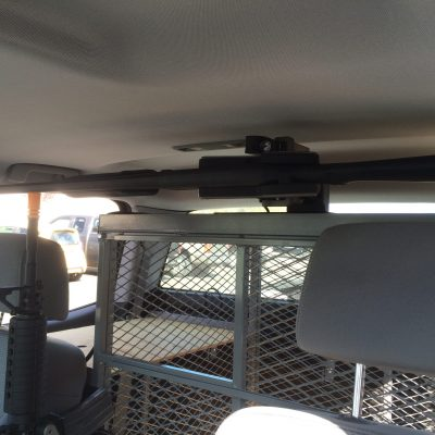 overhead 1082 mounted on partition holding shotgun